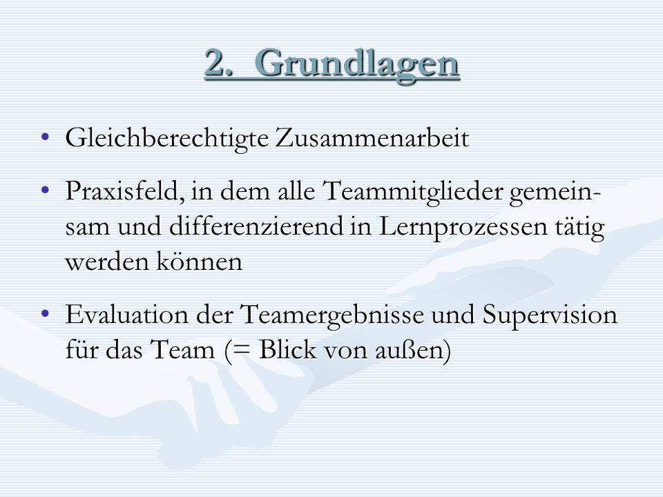 2. Grundlagen Gleichberechtigte ZusammenarbeitGleichberechtigte Zusammenarbeit Praxisfeld, in dem alle Teammitglieder gemein- sam und differenzierend