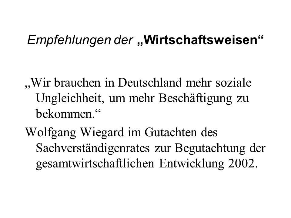 Empfehlungen der Wirtschaftsweisen Wir brauchen in Deutschland mehr soziale Ungleichheit, um mehr Beschäftigung zu bekommen. Wolfgang Wiegard im Gutac