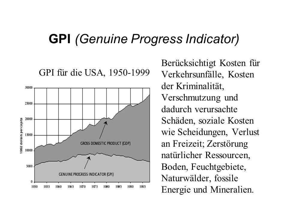 GPI (Genuine Progress Indicator) Berücksichtigt Kosten für Verkehrsunfälle, Kosten der Kriminalität, Verschmutzung und dadurch verursachte Schäden, so