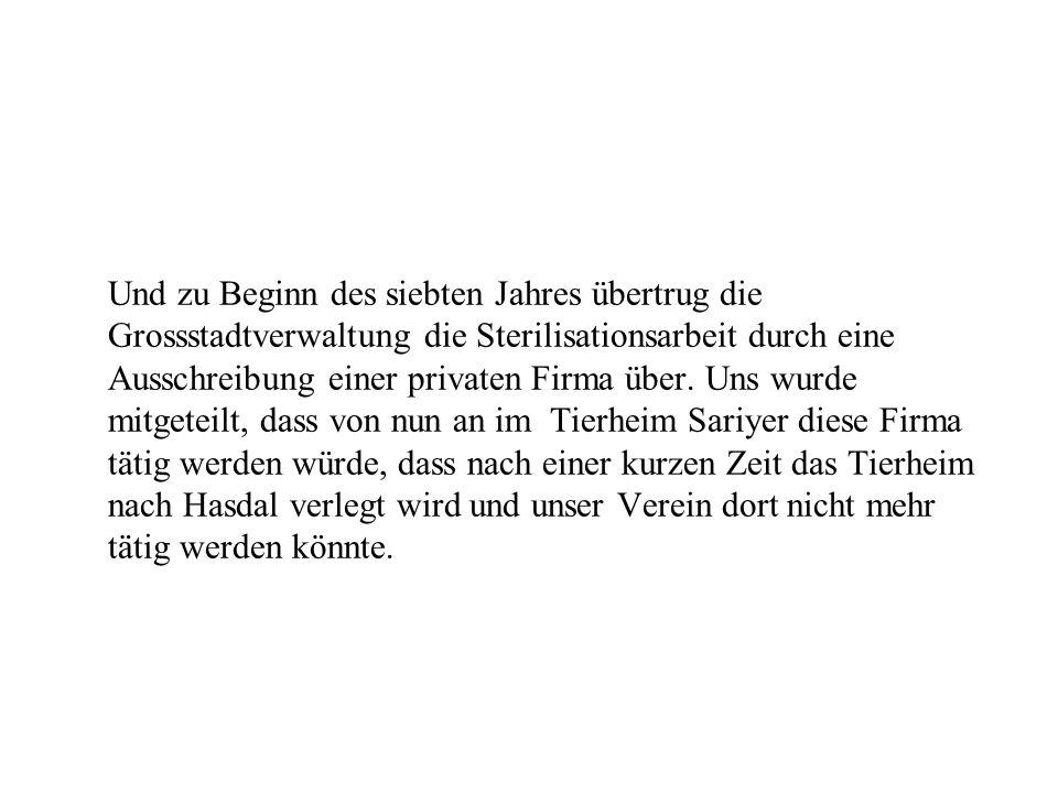 Und zu Beginn des siebten Jahres übertrug die Grossstadtverwaltung die Sterilisationsarbeit durch eine Ausschreibung einer privaten Firma über. Uns wu