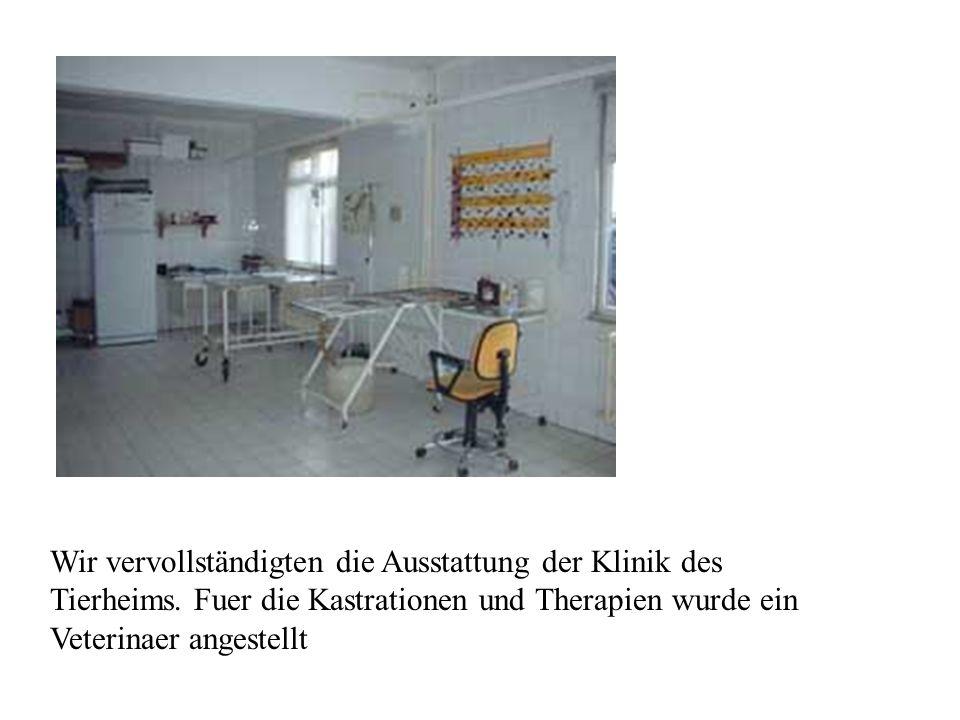 Wir vervollständigten die Ausstattung der Klinik des Tierheims. Fuer die Kastrationen und Therapien wurde ein Veterinaer angestellt