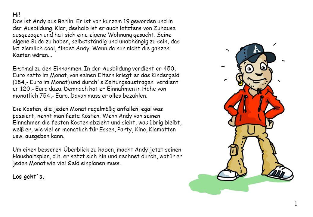 Hi! Das ist Andy aus Berlin. Er ist vor kurzem 19 geworden und in der Ausbildung. Klar, deshalb ist er auch letztens von Zuhause ausgezogen und hat si