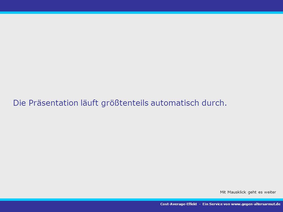 Die Präsentation läuft größtenteils automatisch durch. Cost-Average-Effekt - Ein Service von www.gegen-altersarmut.de Mit Mausklick geht es weiter