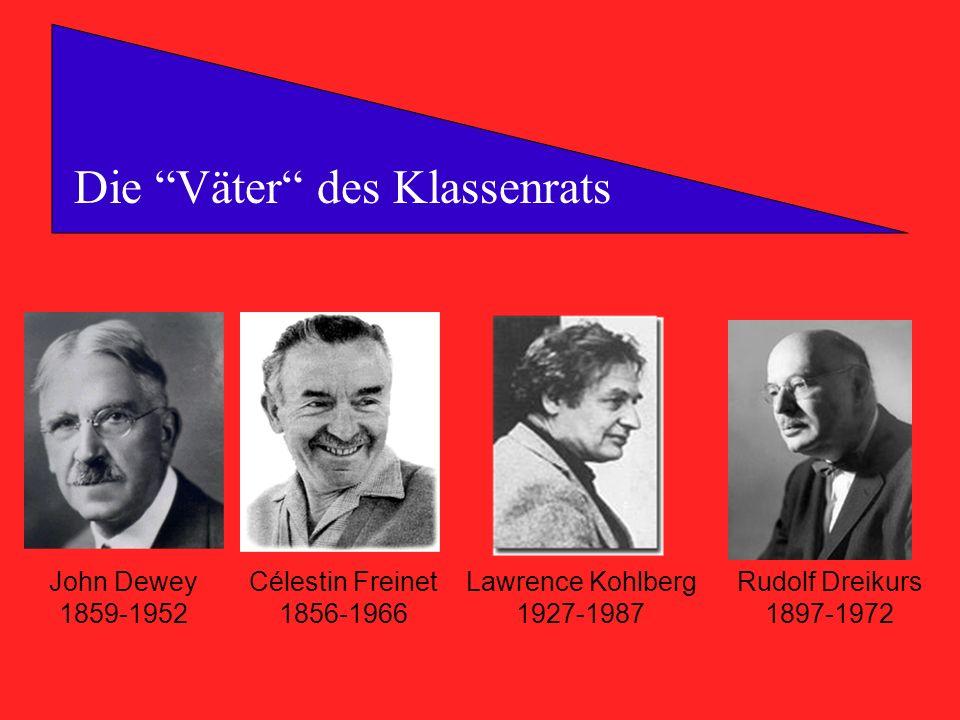 Die Väter des Klassenrats John Dewey 1859-1952 Célestin Freinet 1856-1966 Lawrence Kohlberg 1927-1987 Rudolf Dreikurs 1897-1972