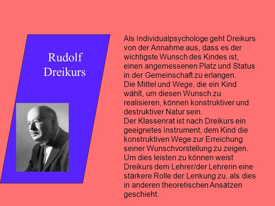 Rudolf Dreikurs Als Individualpsychologe geht Dreikurs von der Annahme aus, dass es der wichtigste Wunsch des Kindes ist, einen angemessenen Platz und Status in der Gemeinschaft zu erlangen.
