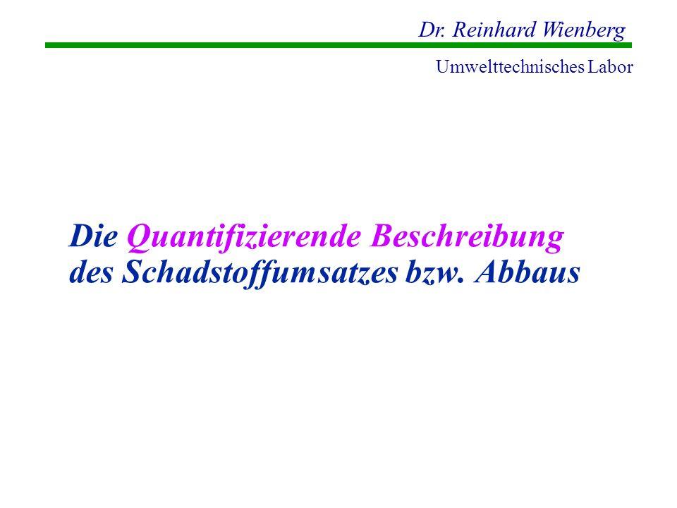 Dr. Reinhard Wienberg Umwelttechnisches Labor Die Quantifizierende Beschreibung des Schadstoffumsatzes bzw. Abbaus