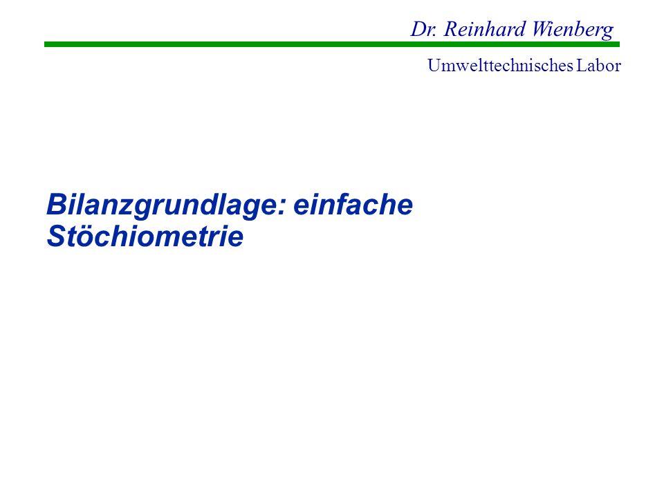 Dr. Reinhard Wienberg Umwelttechnisches Labor Bilanzgrundlage: einfache Stöchiometrie