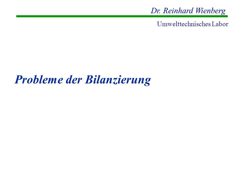 Dr. Reinhard Wienberg Umwelttechnisches Labor Probleme der Bilanzierung