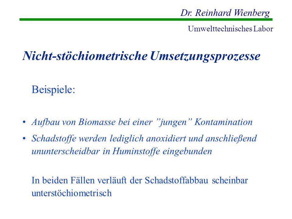 Dr. Reinhard Wienberg Umwelttechnisches Labor Nicht-stöchiometrische Umsetzungsprozesse Beispiele: Aufbau von Biomasse bei einer jungen Kontamination