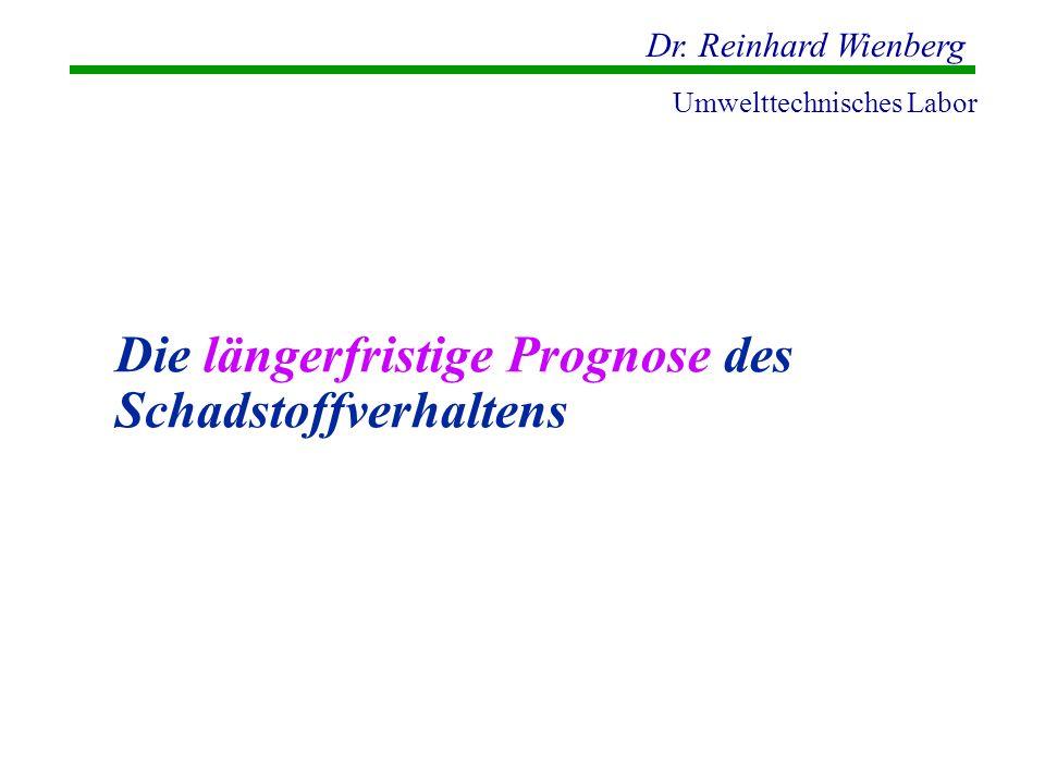 Dr. Reinhard Wienberg Umwelttechnisches Labor Die längerfristige Prognose des Schadstoffverhaltens