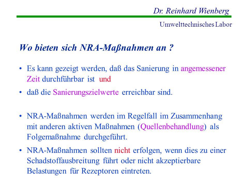 Dr. Reinhard Wienberg Umwelttechnisches Labor Wo bieten sich NRA-Maßnahmen an ? Es kann gezeigt werden, daß das Sanierung in angemessener Zeit durchfü