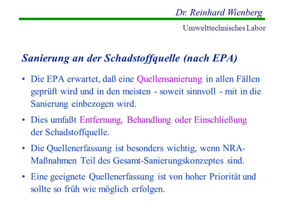 Dr. Reinhard Wienberg Umwelttechnisches Labor Sanierung an der Schadstoffquelle (nach EPA) Die EPA erwartet, daß eine Quellensanierung in allen Fällen