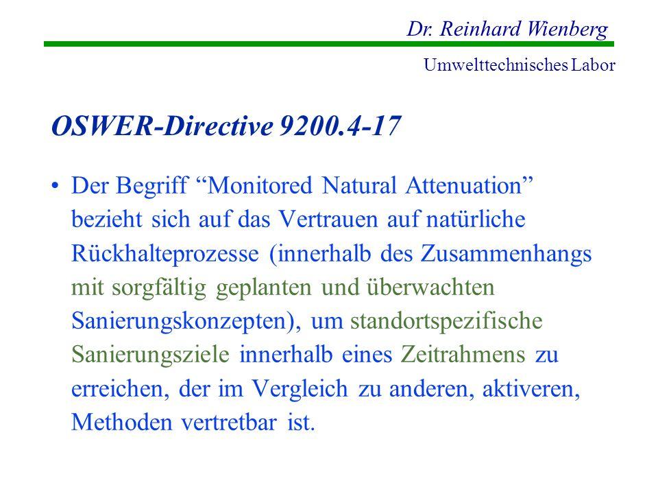 Dr. Reinhard Wienberg Umwelttechnisches Labor OSWER-Directive 9200.4-17 Der Begriff Monitored Natural Attenuation bezieht sich auf das Vertrauen auf n