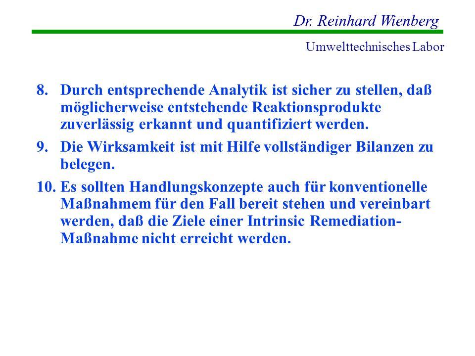Dr. Reinhard Wienberg Umwelttechnisches Labor 8.Durch entsprechende Analytik ist sicher zu stellen, daß möglicherweise entstehende Reaktionsprodukte z