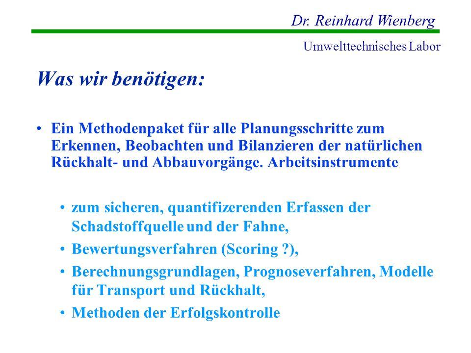 Dr. Reinhard Wienberg Umwelttechnisches Labor Was wir benötigen: Ein Methodenpaket für alle Planungsschritte zum Erkennen, Beobachten und Bilanzieren