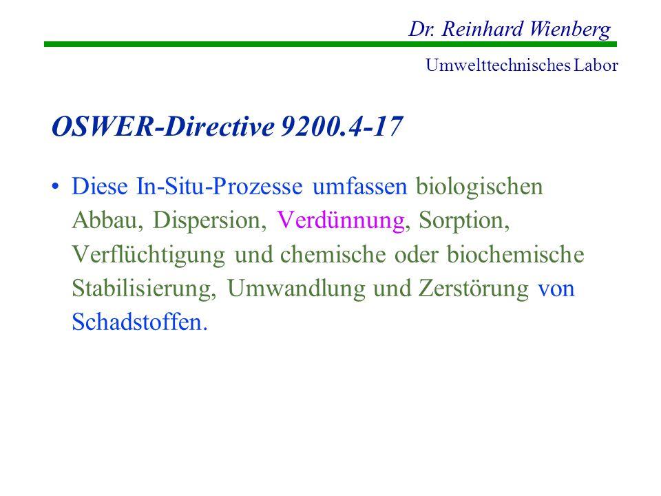 Dr. Reinhard Wienberg Umwelttechnisches Labor OSWER-Directive 9200.4-17 Diese In-Situ-Prozesse umfassen biologischen Abbau, Dispersion, Verdünnung, So