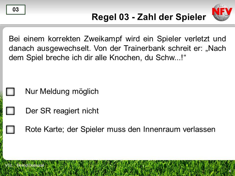 15 Regel 03 - Zahl der Spieler Ein verletzter Spieler möchte über die Torlinie wieder ins Spielfeld zurückkehren.