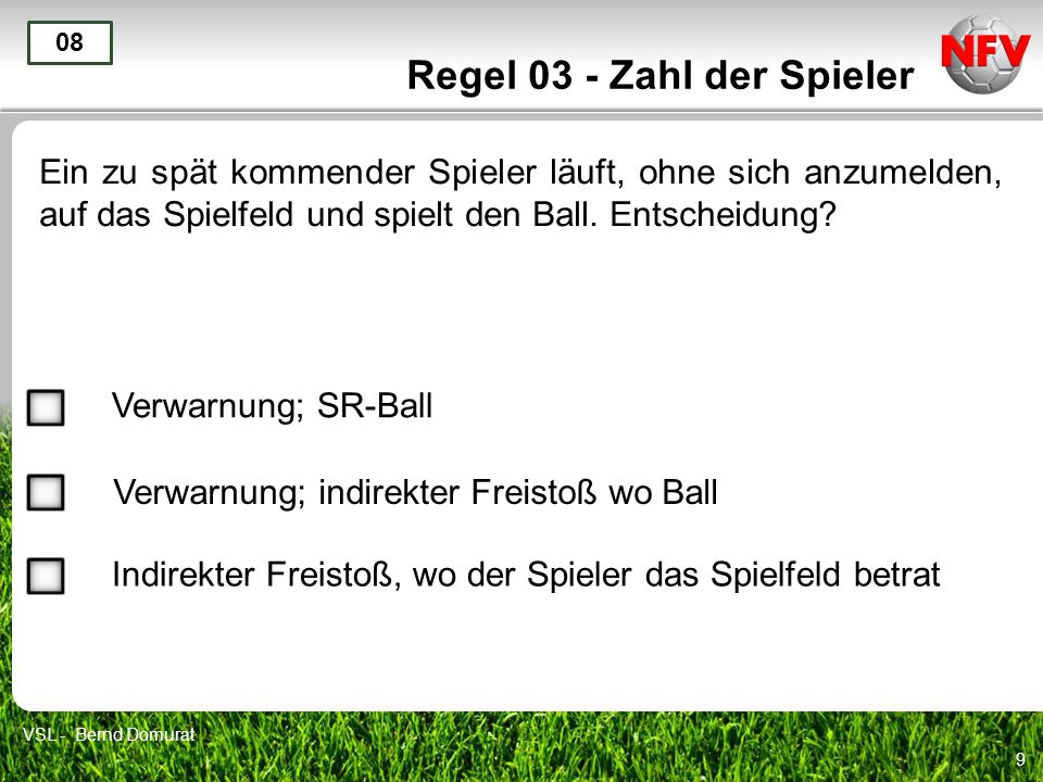 20 Regel 03 - Zahl der Spieler Ende 19 VSL - Bernd Domurat