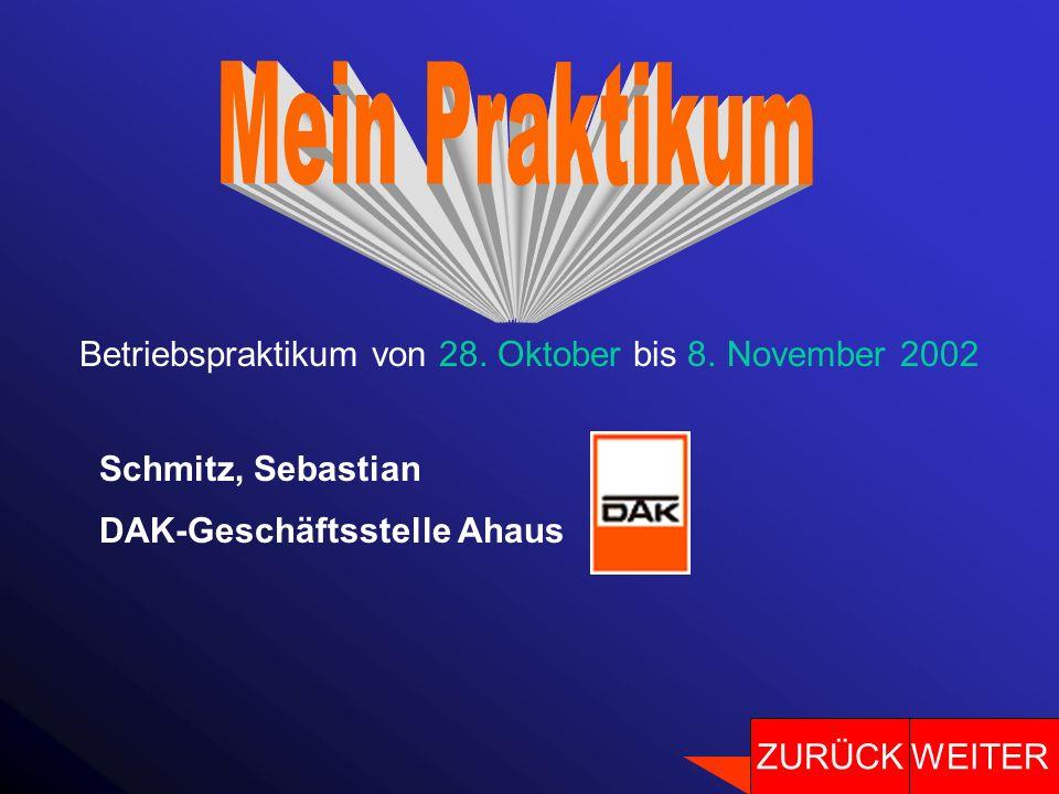 Betriebspraktikum von 28. Oktober bis 8. November 2002 Schmitz, Sebastian DAK-Geschäftsstelle Ahaus WEITERZURÜCK