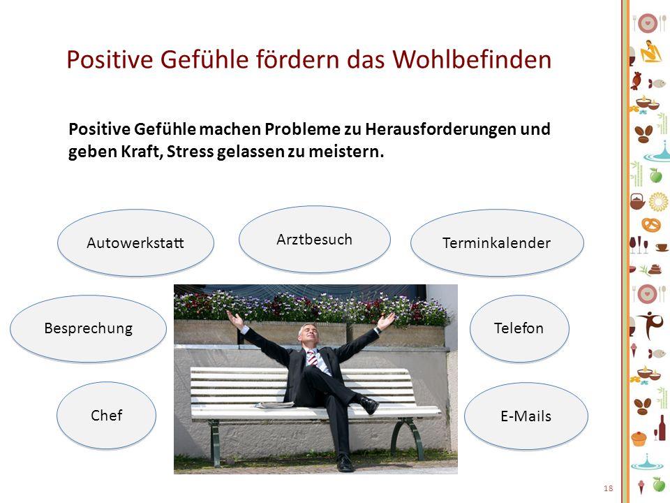 Positive Gefühle fördern das Wohlbefinden Positive Gefühle machen Probleme zu Herausforderungen und geben Kraft, Stress gelassen zu meistern. 18 Arztb