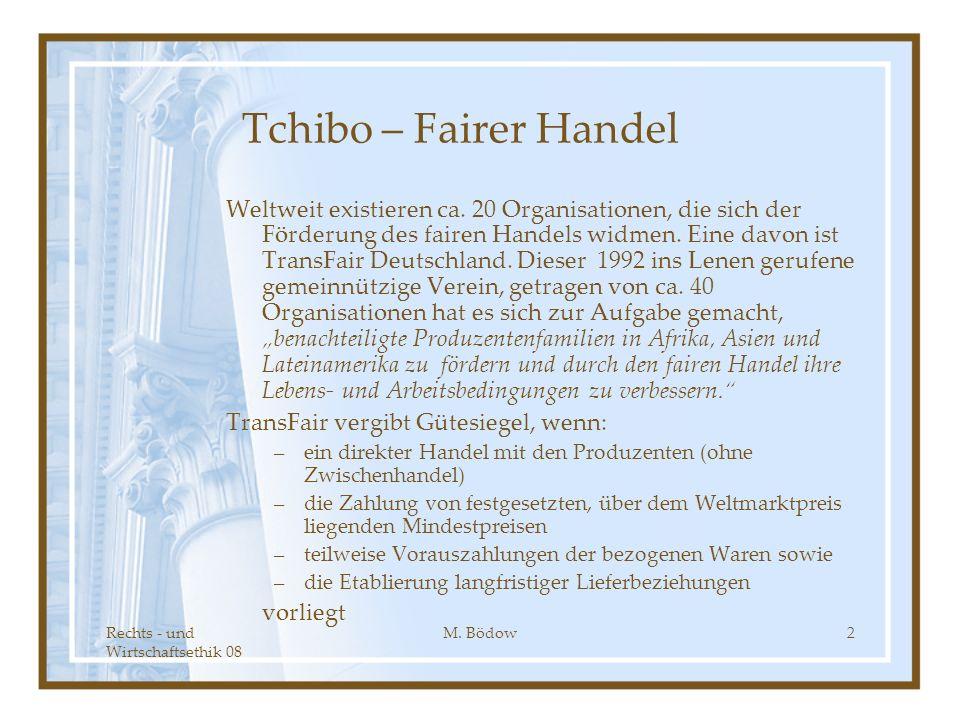 Rechts - und Wirtschaftsethik 08 M. Bödow2 Tchibo – Fairer Handel Weltweit existieren ca. 20 Organisationen, die sich der Förderung des fairen Handels