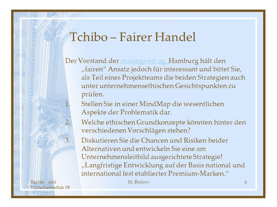 Rechts - und Wirtschaftsethik 08 M. Bödow4 Tchibo – Fairer Handel Der Vorstand der maxingvest ag, Hamburg hält den fairen Ansatz jedoch für interessan