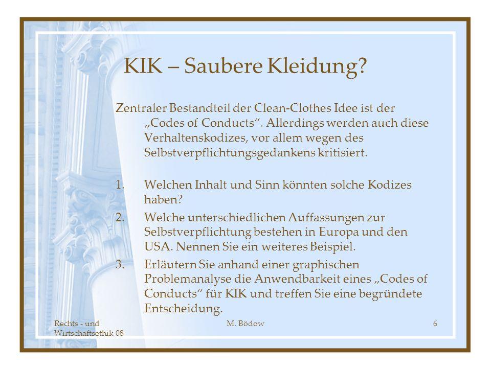 Rechts - und Wirtschaftsethik 08 M. Bödow6 KIK – Saubere Kleidung? Zentraler Bestandteil der Clean-Clothes Idee ist der Codes of Conducts. Allerdings