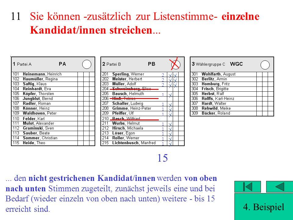 Sie können -zusätzlich zur Listenstimme- einzelne Kandidat/innen streichen... 10 Auswertung