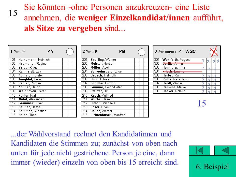 14 Sie könnten -ohne Personen anzukreuzen- eine Liste annehmen, die weniger Einzelkandidat/innen aufführt, als Sitze zu vergeben sind...