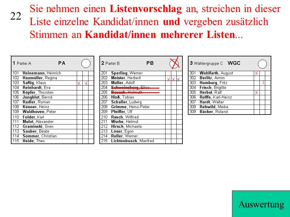 21 2 1 1 1 5 3 5 +3=8+7=157 1...zunächst erhält jeder Kandidat die persönlich zugewiesenen Stimmen...dann gehen die restlichen (hier 7) Stimmen an die durch die Listenstimme festgelegte Partei/Wählergruppe (je 1 von oben).