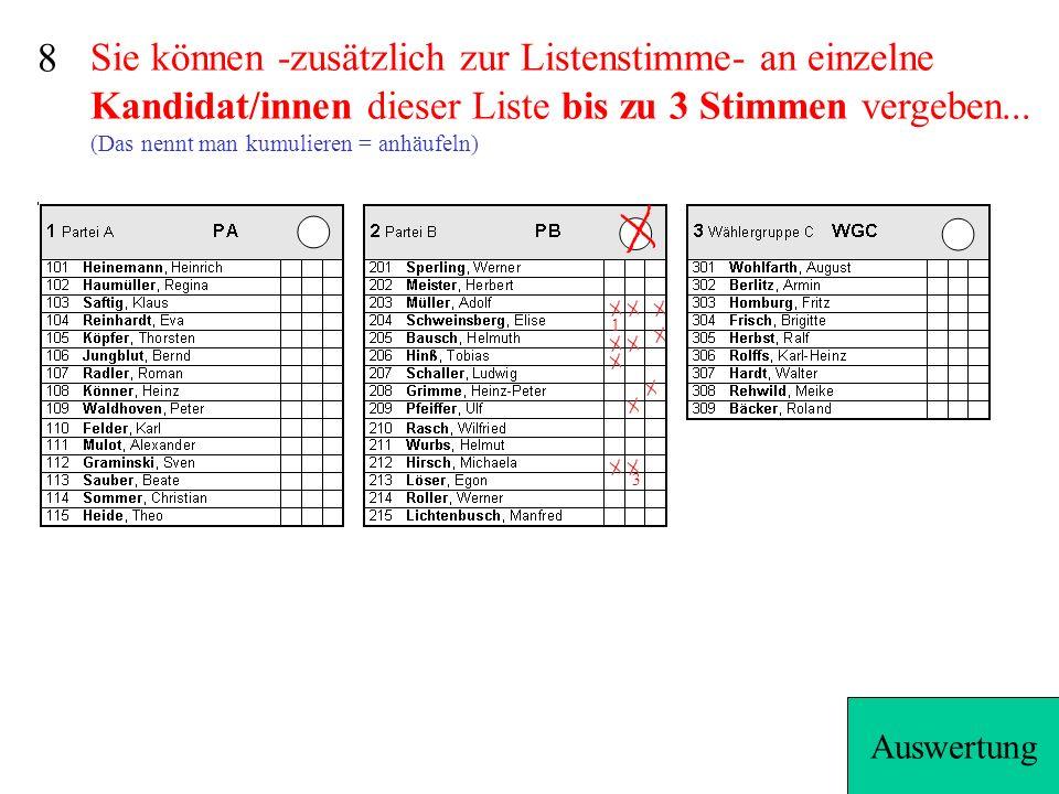 Sie können -zusätzlich zur Listenstimme- an einzelne Kandidat/innen dieser Liste bis zu 3 Stimmen vergeben...