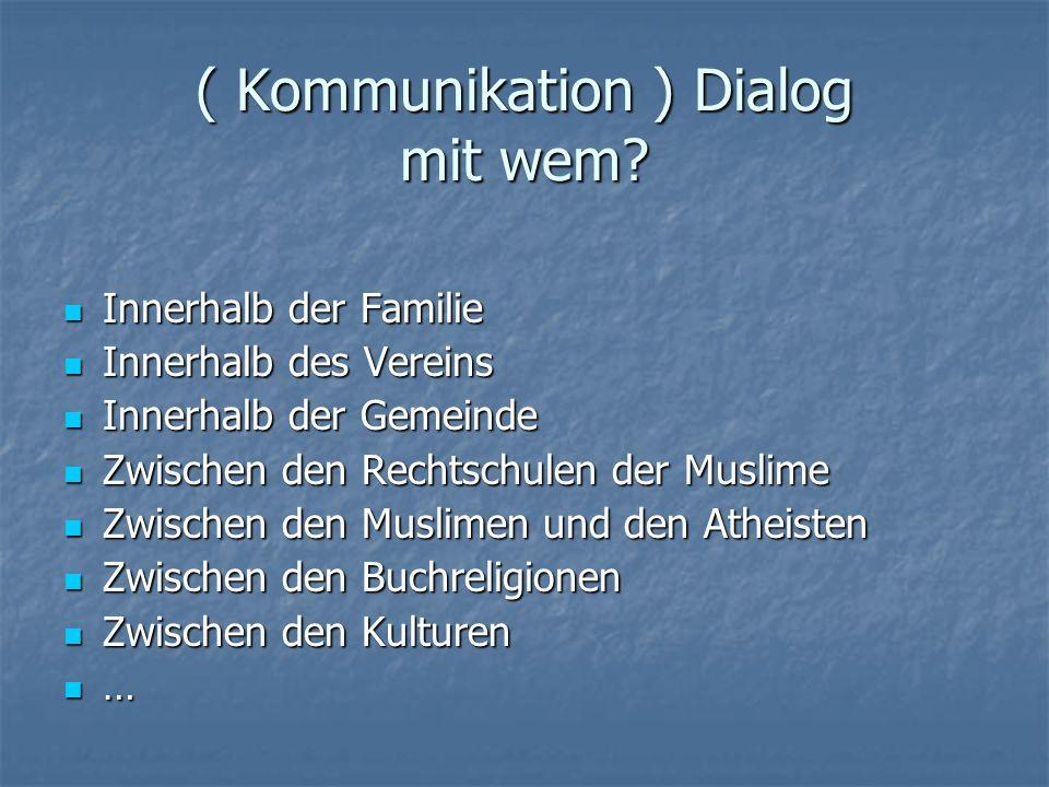 ( Kommunikation ) Dialog mit wem? Innerhalb der Familie Innerhalb der Familie Innerhalb des Vereins Innerhalb des Vereins Innerhalb der Gemeinde Inner