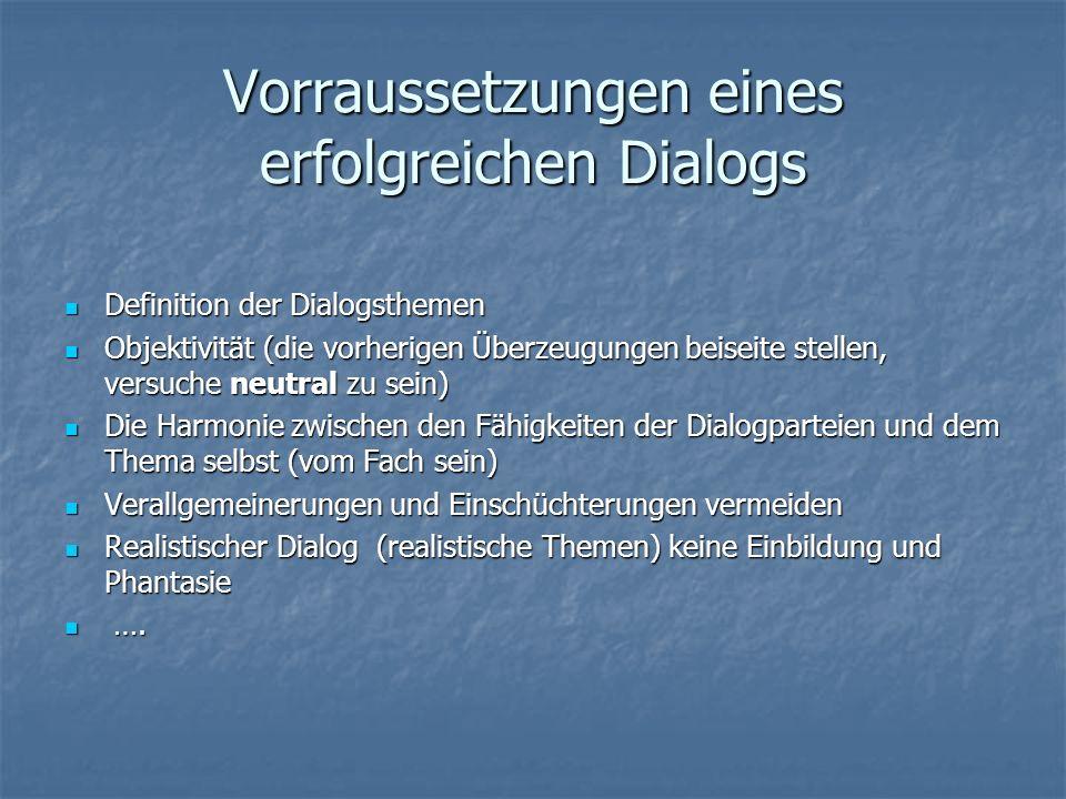 Vorraussetzungen eines erfolgreichen Dialogs Definition der Dialogsthemen Definition der Dialogsthemen Objektivität (die vorherigen Überzeugungen beis