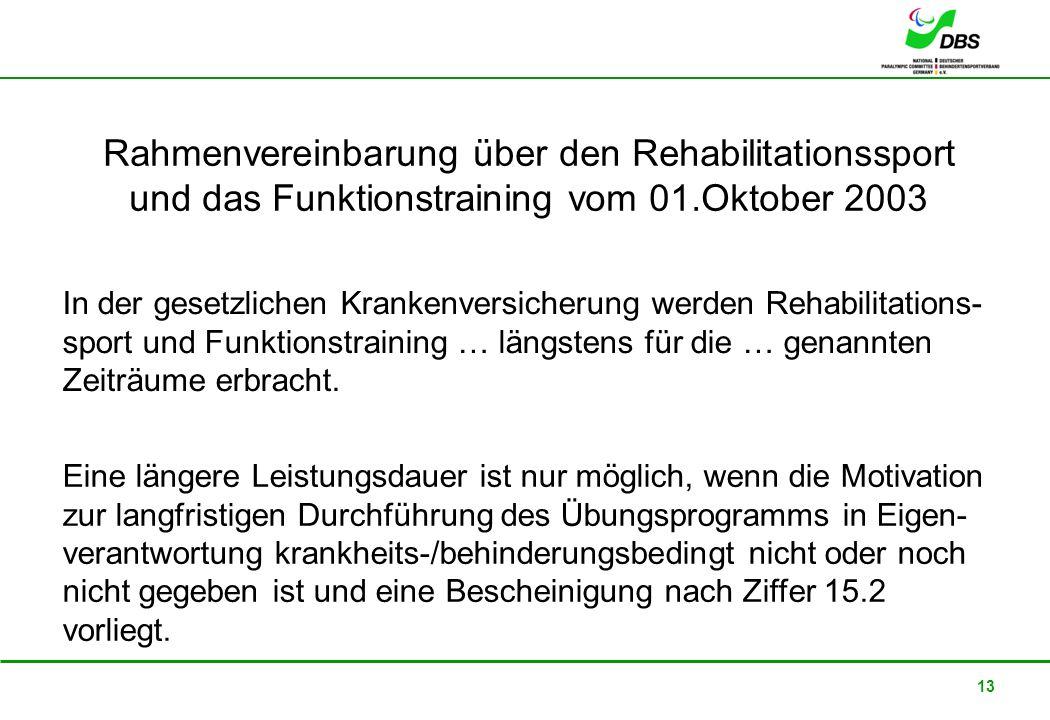 22. Februar 2008 13 Rahmenvereinbarung über den Rehabilitationssport und das Funktionstraining vom 01.Oktober 2003 In der gesetzlichen Krankenversiche