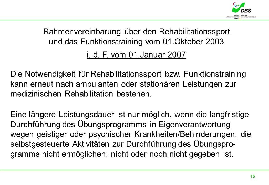22. Februar 2008 15 Rahmenvereinbarung über den Rehabilitationssport und das Funktionstraining vom 01.Oktober 2003 i. d. F. vom 01.Januar 2007 Eine lä