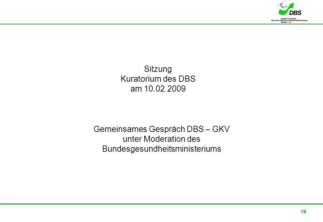 22. Februar 2008 19 Sitzung Kuratorium des DBS am 10.02.2009 Gemeinsames Gespräch DBS – GKV unter Moderation des Bundesgesundheitsministeriums