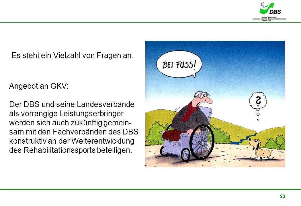 22. Februar 2008 23 Angebot an GKV: Der DBS und seine Landesverbände als vorrangige Leistungserbringer werden sich auch zukünftig gemein- sam mit den