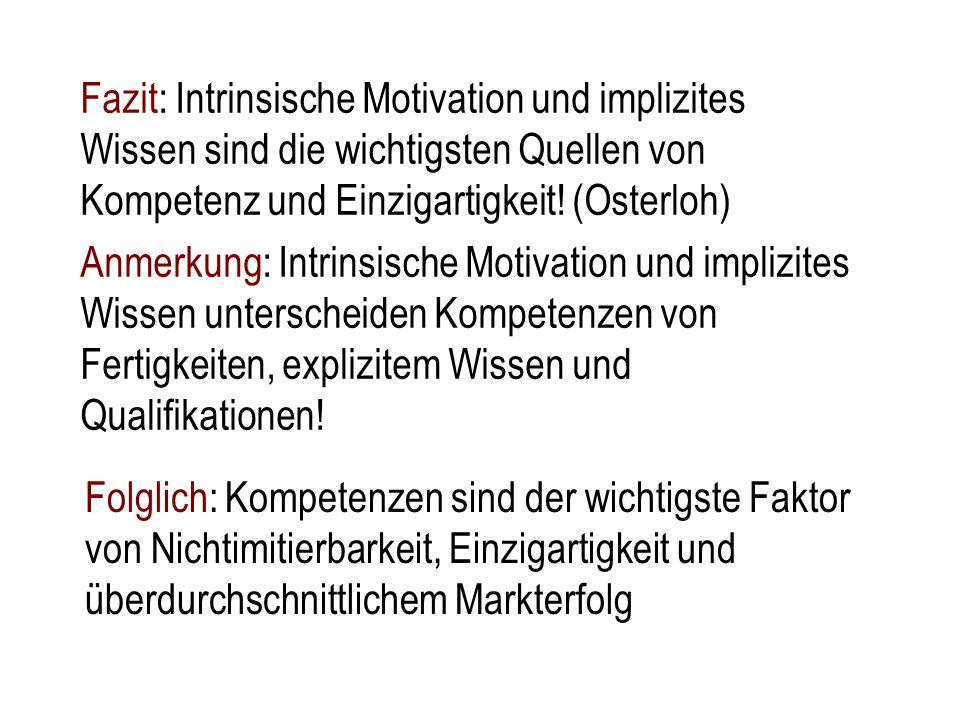Fazit: Intrinsische Motivation und implizites Wissen sind die wichtigsten Quellen von Kompetenz und Einzigartigkeit! (Osterloh) Anmerkung: Intrinsisch