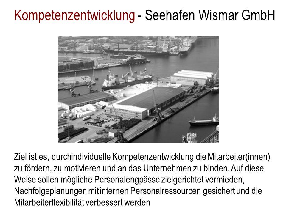 Kompetenzentwicklung - Seehafen Wismar GmbH Ziel ist es, durchindividuelle Kompetenzentwicklung die Mitarbeiter(innen) zu fördern, zu motivieren und a