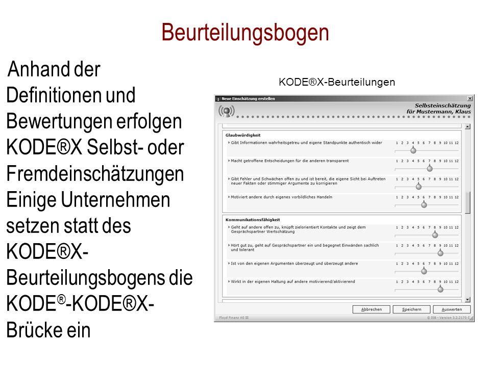 Beurteilungsbogen Anhand der Definitionen und Bewertungen erfolgen KODE®X Selbst- oder Fremdeinschätzungen Einige Unternehmen setzen statt des KODE®X-