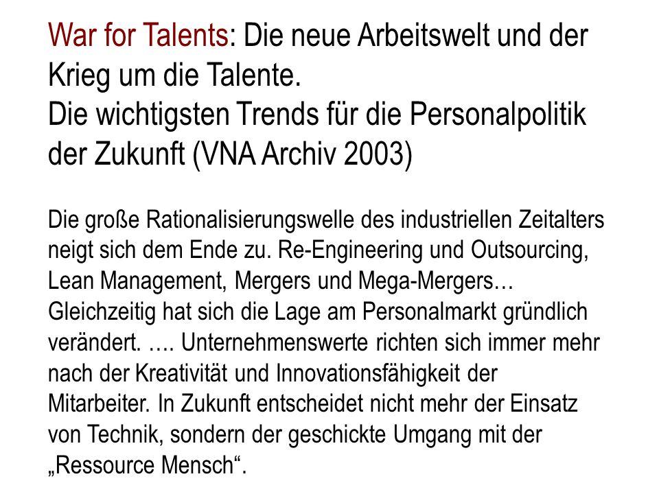 War for Talents: Die neue Arbeitswelt und der Krieg um die Talente. Die wichtigsten Trends für die Personalpolitik der Zukunft (VNA Archiv 2003) Die g