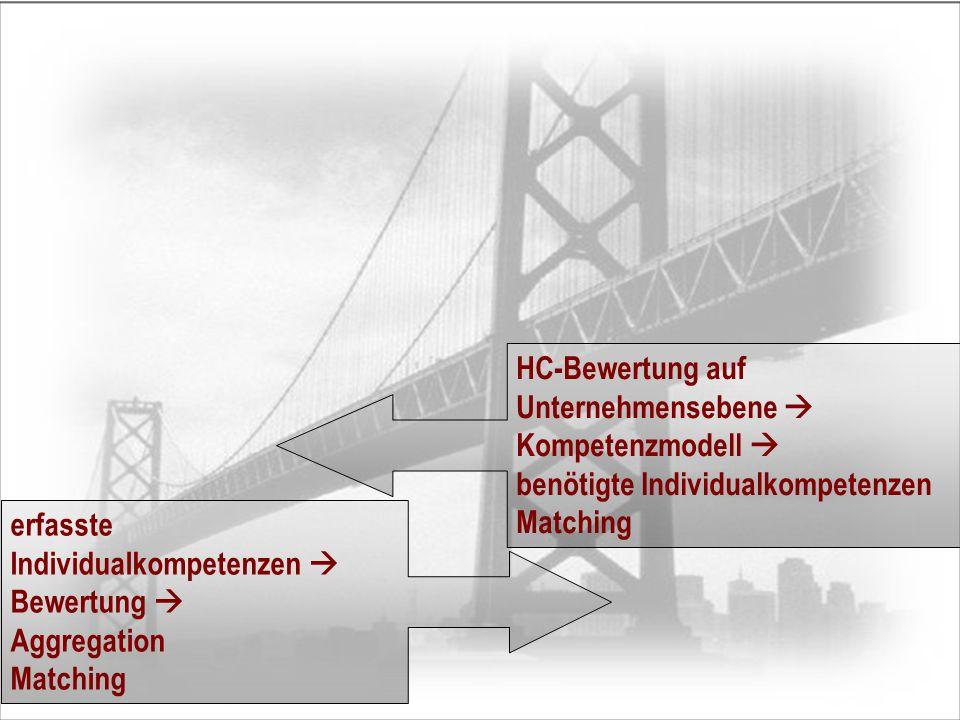 HC-Bewertung auf Unternehmensebene Kompetenzmodell benötigte Individualkompetenzen Matching erfasste Individualkompetenzen Bewertung Aggregation Match