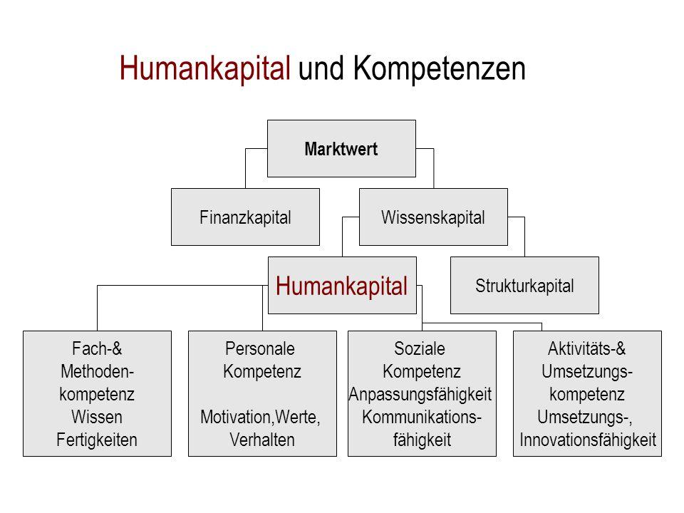 Strukturkapital Marktwert FinanzkapitalWissenskapital Humankapital Personale Kompetenz Motivation,Werte, Verhalten Fach-& Methoden- kompetenz Wissen F
