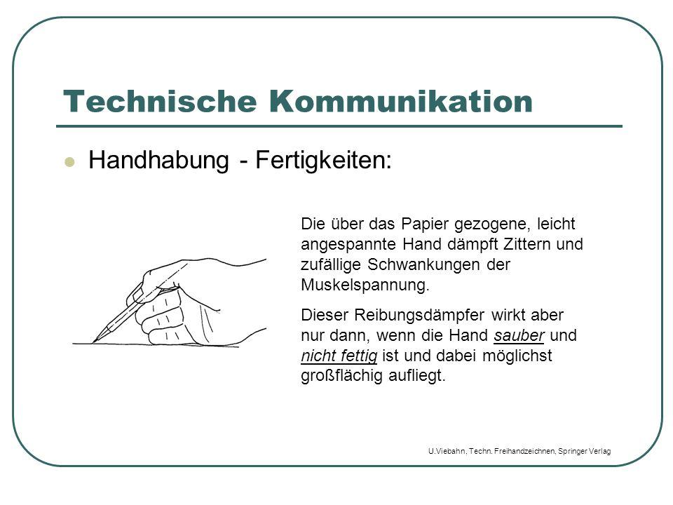 Technische Kommunikation Handhabung - Fertigkeiten: Die über das Papier gezogene, leicht angespannte Hand dämpft Zittern und zufällige Schwankungen de