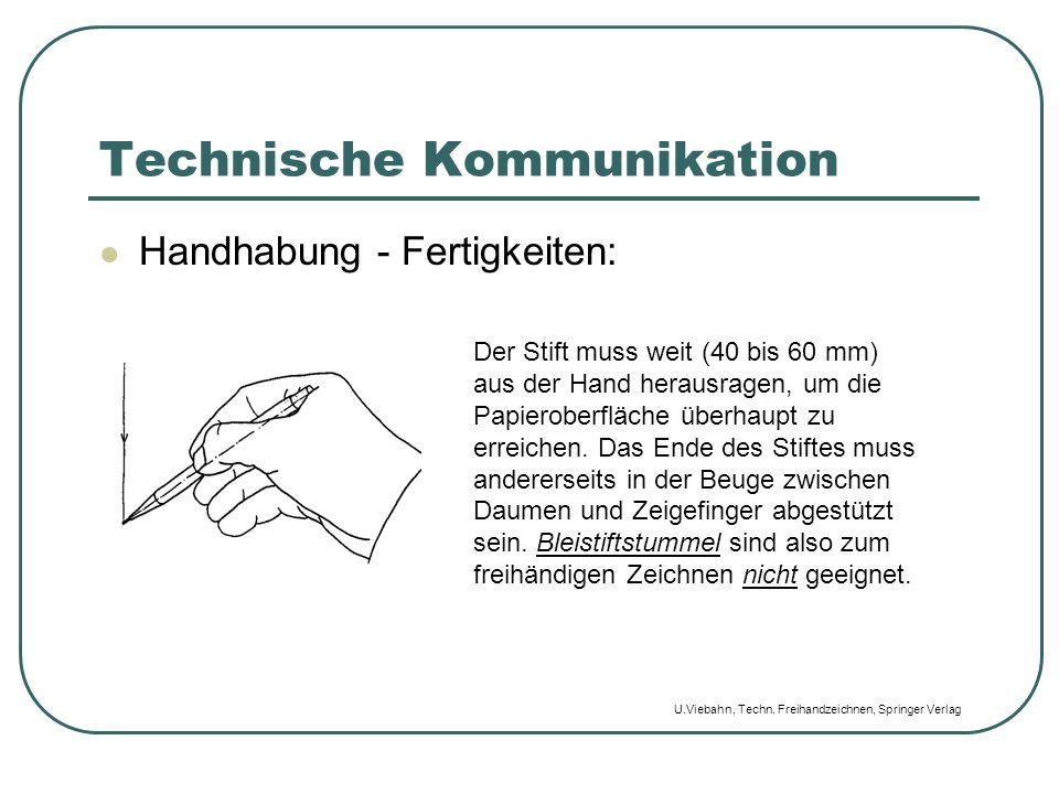 Technische Kommunikation Handhabung - Fertigkeiten: Der Stift muss weit (40 bis 60 mm) aus der Hand herausragen, um die Papieroberfläche überhaupt zu