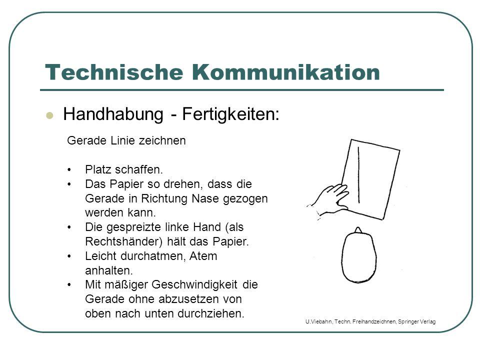 Technische Kommunikation Handhabung - Fertigkeiten: Gerade Linie zeichnen Platz schaffen. Das Papier so drehen, dass die Gerade in Richtung Nase gezog