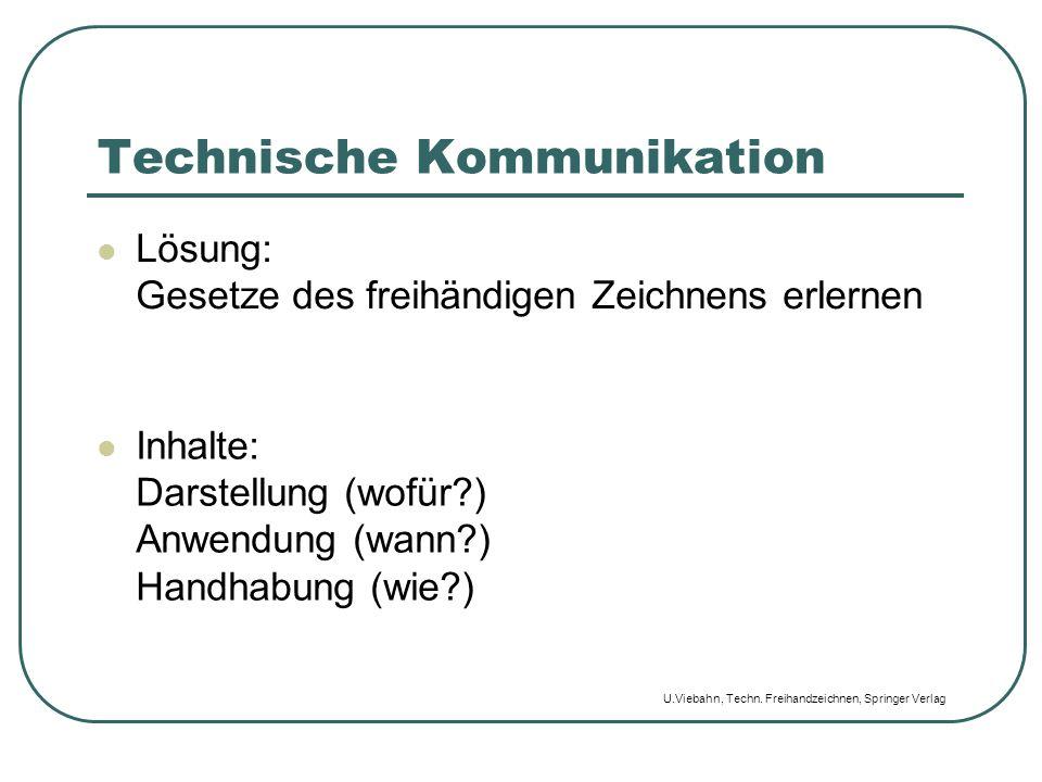 Technische Kommunikation Lösung: Gesetze des freihändigen Zeichnens erlernen Inhalte: Darstellung (wofür?) Anwendung (wann?) Handhabung (wie?) U.Vieba