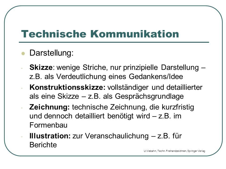 Technische Kommunikation Darstellung: - Skizze: wenige Striche, nur prinzipielle Darstellung – z.B. als Verdeutlichung eines Gedankens/Idee - Konstruk