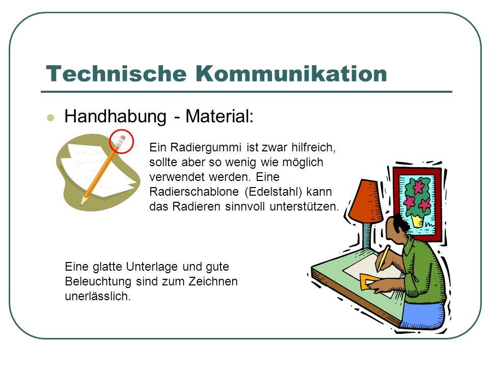 Technische Kommunikation Handhabung - Material: Ein Radiergummi ist zwar hilfreich, sollte aber so wenig wie möglich verwendet werden. Eine Radierscha
