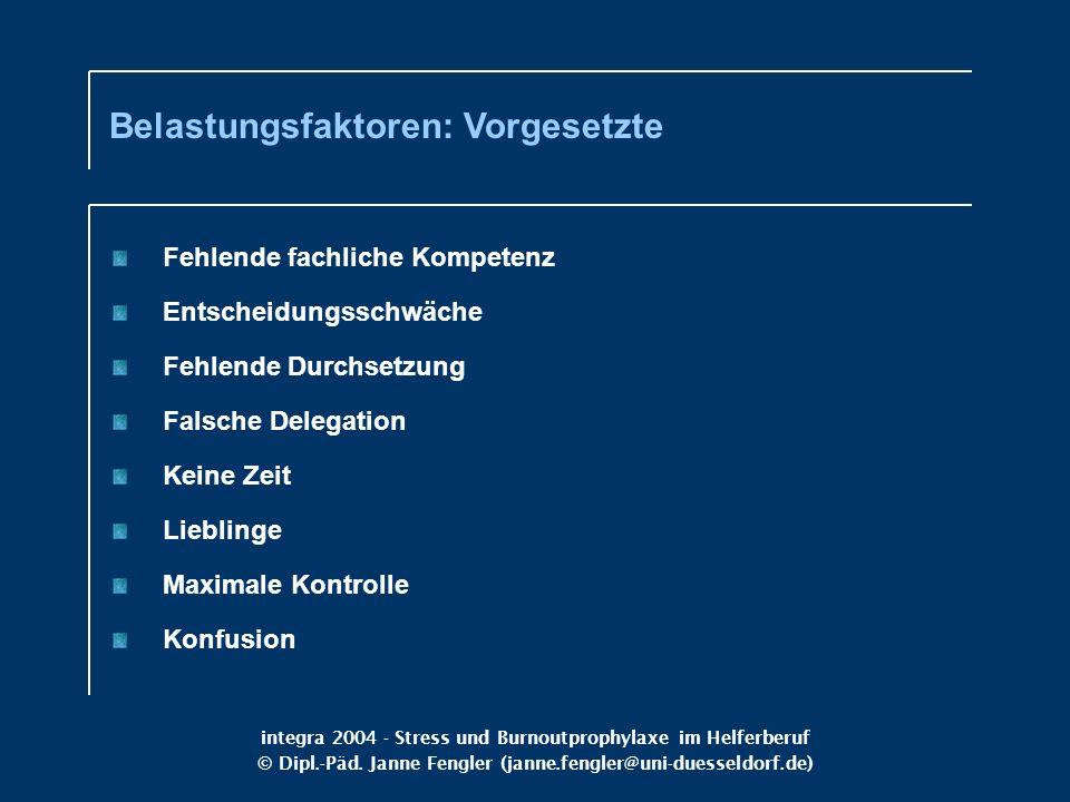 integra 2004 - Stress und Burnoutprophylaxe im Helferberuf © Dipl.-Päd. Janne Fengler (janne.fengler@uni-duesseldorf.de) Belastungsfaktoren: Vorgesetz